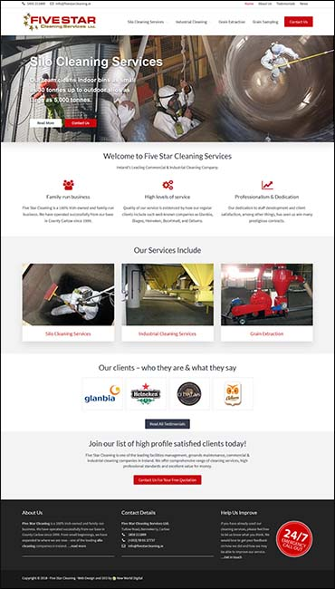 website design five star cleaning