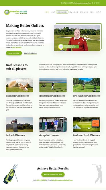 website design brendan mcdaid golf