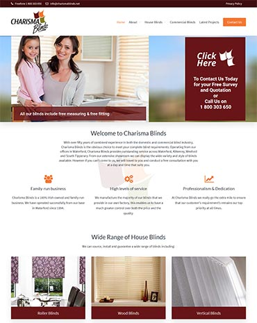 Charisma Blinds Website Design